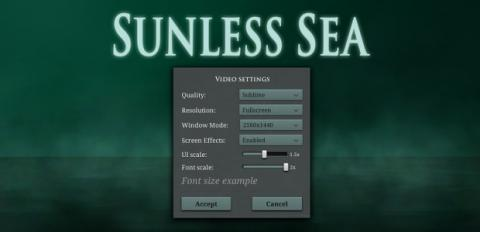 Sunless Sea Options Menu