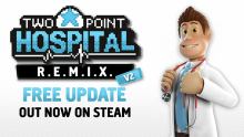 "Two Point Hospital: Update 1.20 ""R.E.M.I.X. V2"" Header"